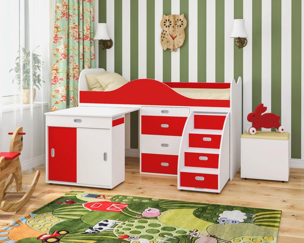 Низкая кровать-чердак для маленьких детей с выдвижным столом
