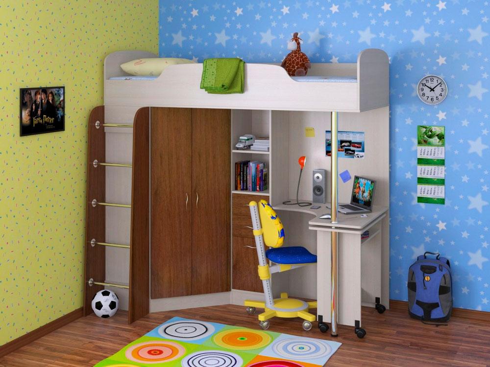 Детская кровать-чердак с угловым компьютерным столом