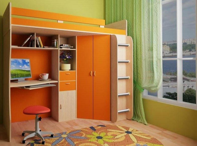 Высокая детская кровать-чердак с рабочей зоной и распашным угловым шкафом