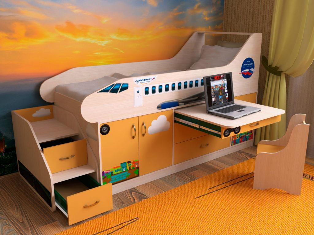 Низкая кровать-чердак в виде самолёта с выдвижной столешницей