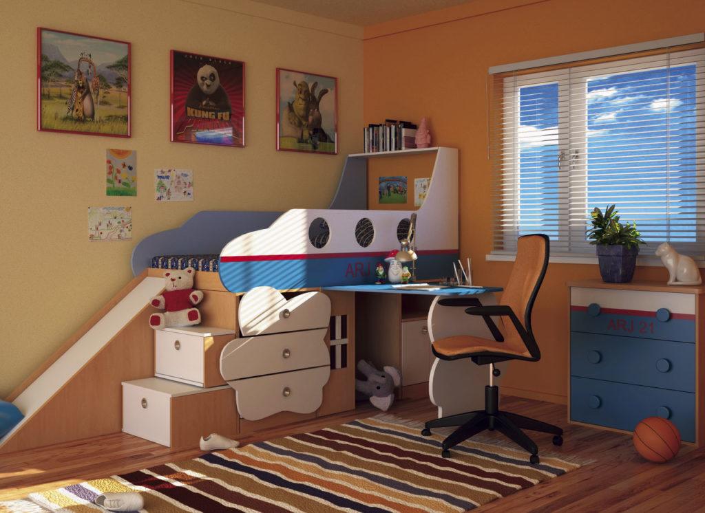 Детская кровать-чердак в интерьере комнаты мальчика