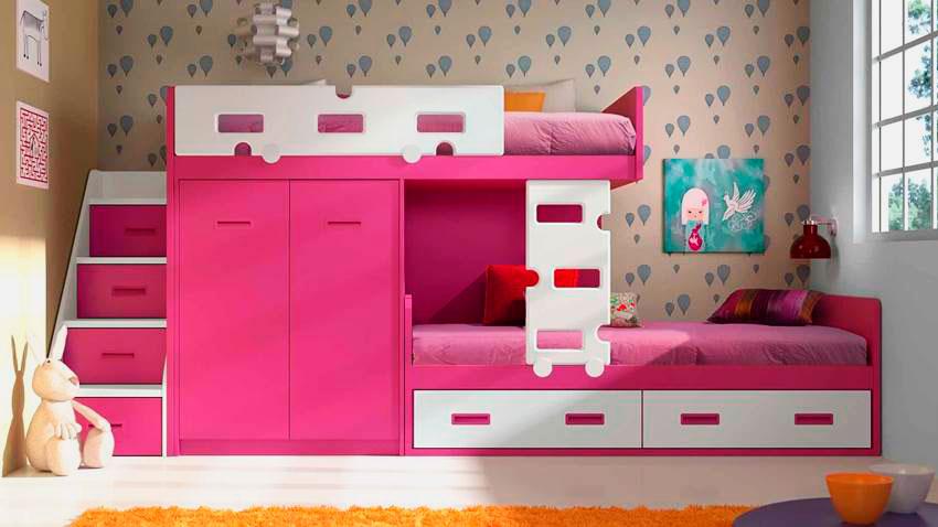 Розовая двухъярусная кровать для девочек со шкафом