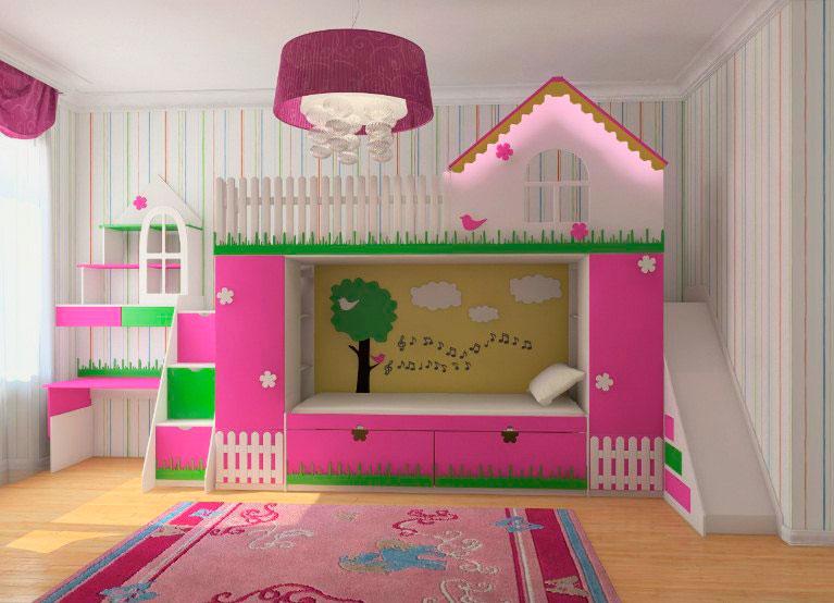 Двухъярусная кровать для девочек с игровой зоной в виде домика и горки