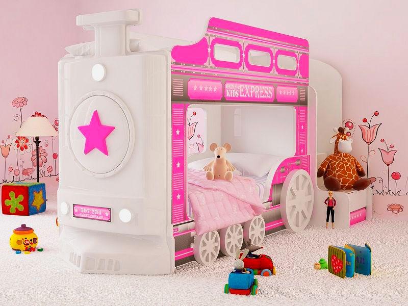 Двухъярусная кровать для девочек в виде паровоза
