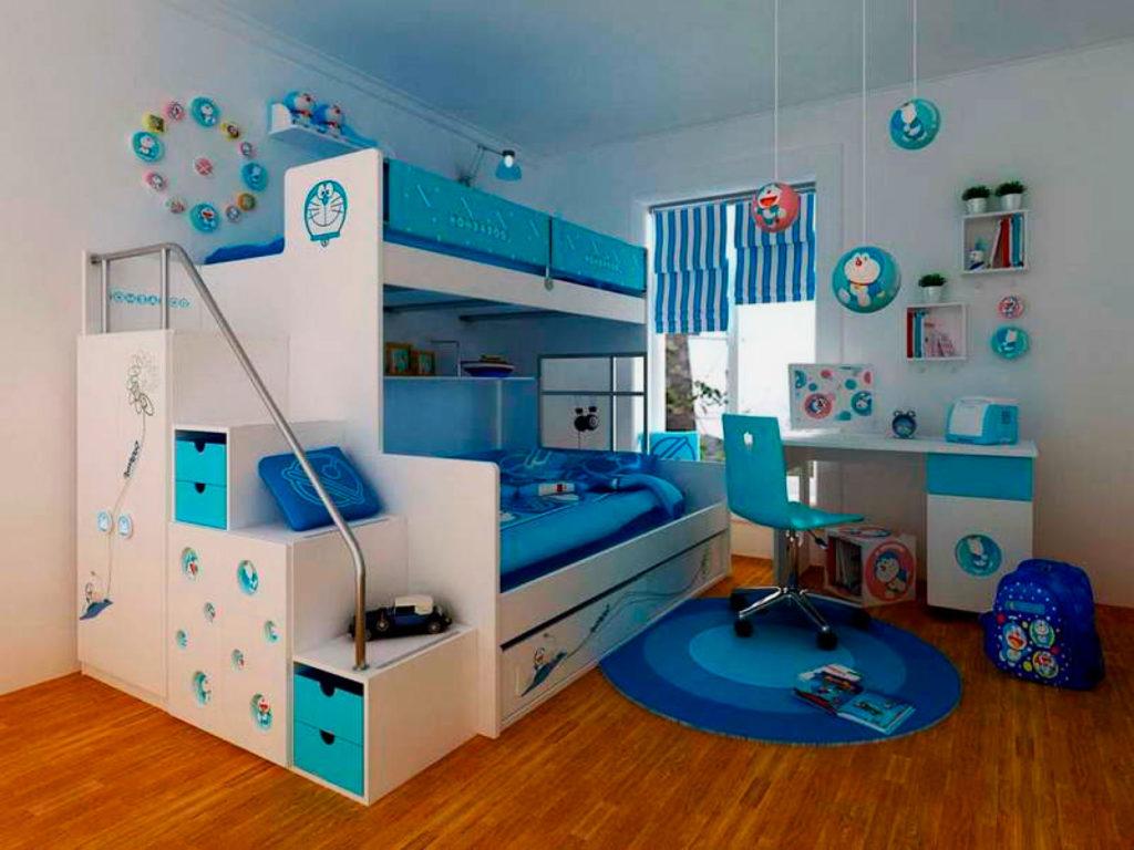 Двухъярусная кровать со ступенями в виде шкафом и металлическим поручнем