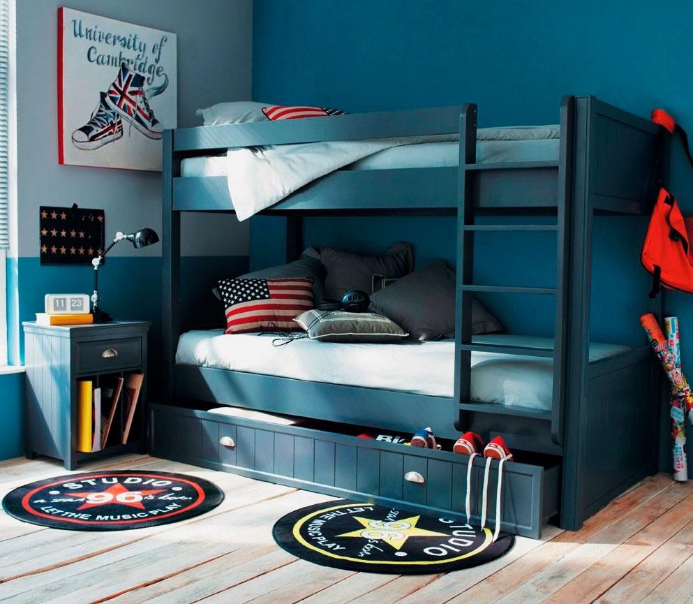 Двухъярусная кровать для мальчиков подростков с выдвижным ящиком под нижней койкой