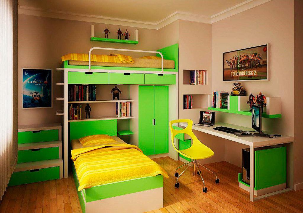 Фото двухъярусной кровати оснащенной системой хранения вещей в виде шкафа и выдвижных ящиков под верхним ярусом