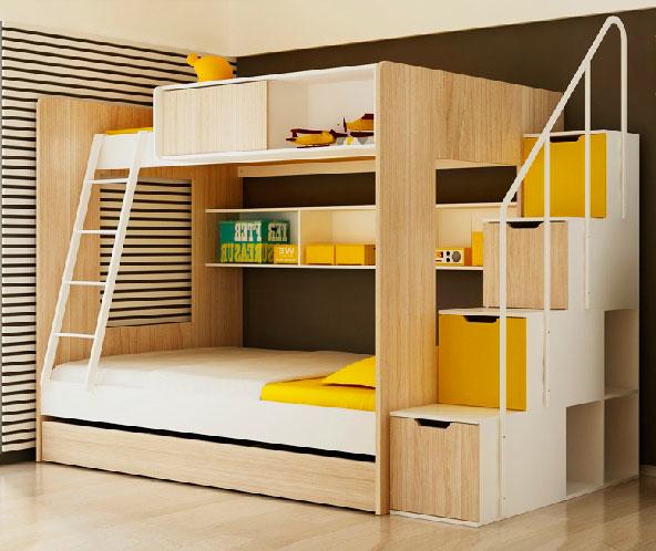 Фото двухъярусной кровати с двумя лестницами