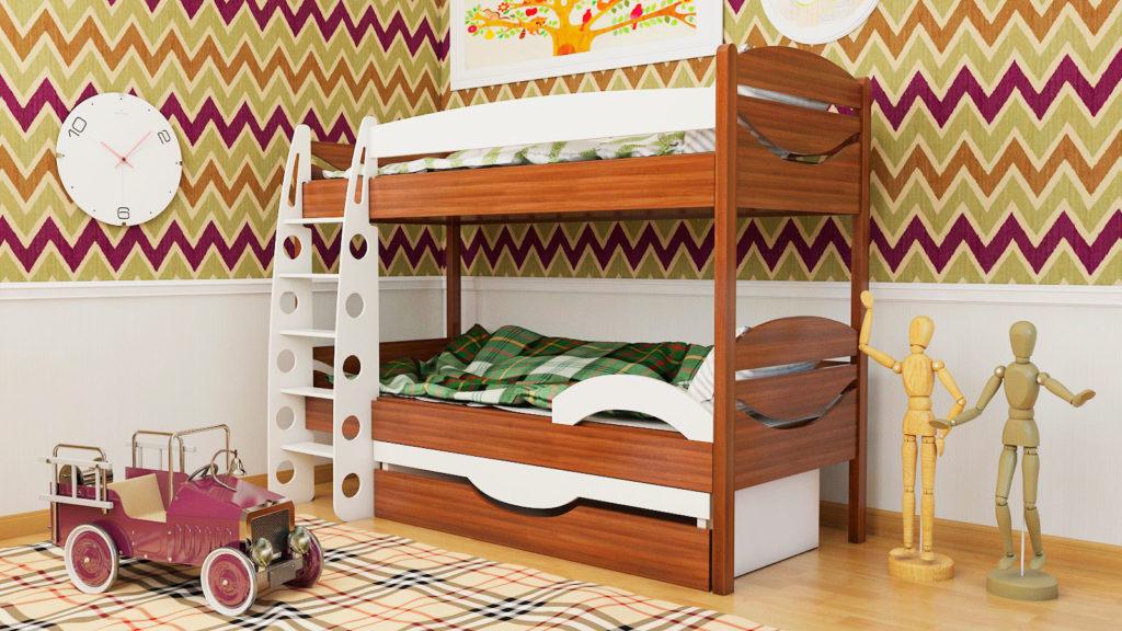 Двухъярусная кровать классической конструкции в интерьере детской комнаты