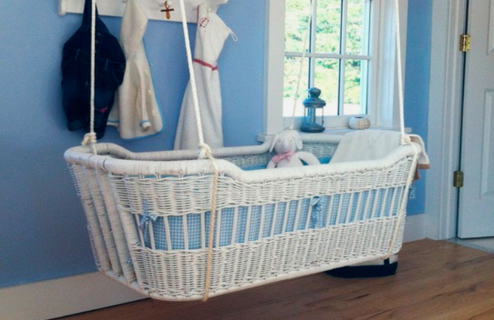 Подвесная плетеная кроватка для грудного ребенка