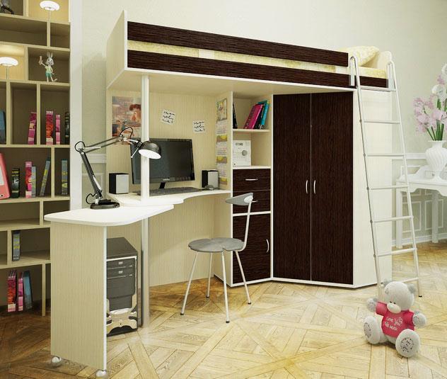Кровать-чердак с рабочей зоной и угловым шкафом