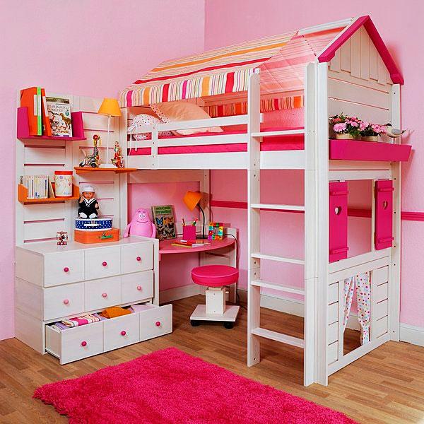Кровать-чердак для девочки со спальным местом стилизованным под домик