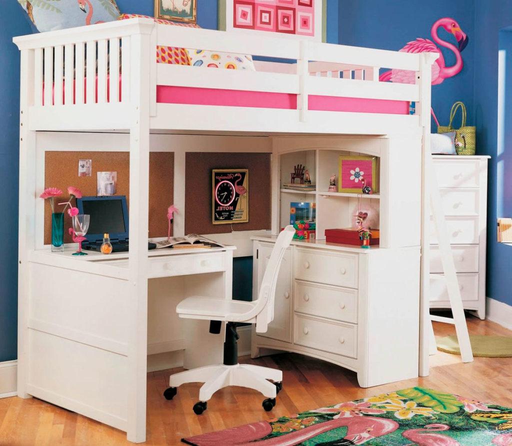 Кровать-чердак для девочек подростков стандартной высоты