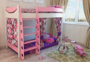 Розовая кровать-чердак в интерьере комнаты юной дамы