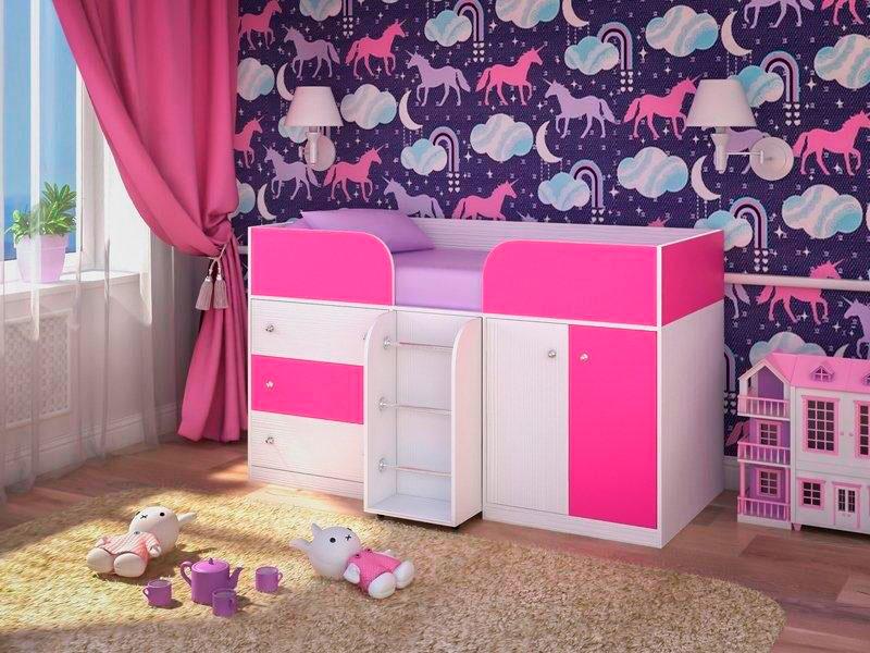 Низкая модель детской кровати-чердака для девочек в розовом и белом цветах