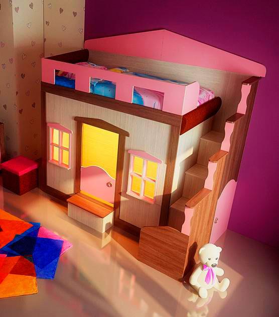 Детская кровать-чердак для девочек с игровой зоной внизу в виде домика