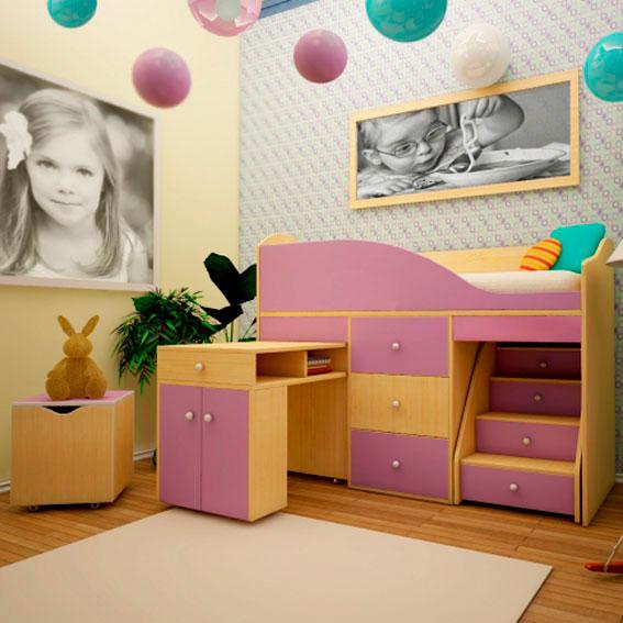 Фото детской кровати-чердака для девочек с низким каркасом