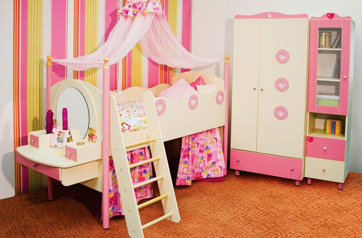 Детская кровать-чердак для девочек с балдахином