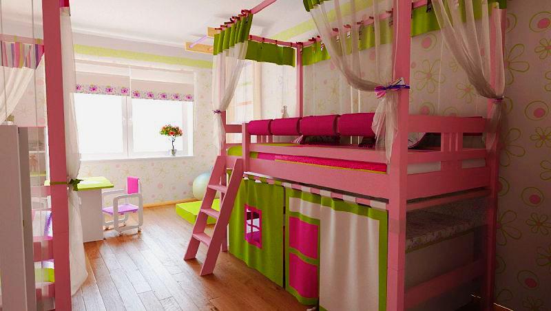 Низкая кровать-чердак для девочки с игровой зоной внизу и балдахином над спальным местом