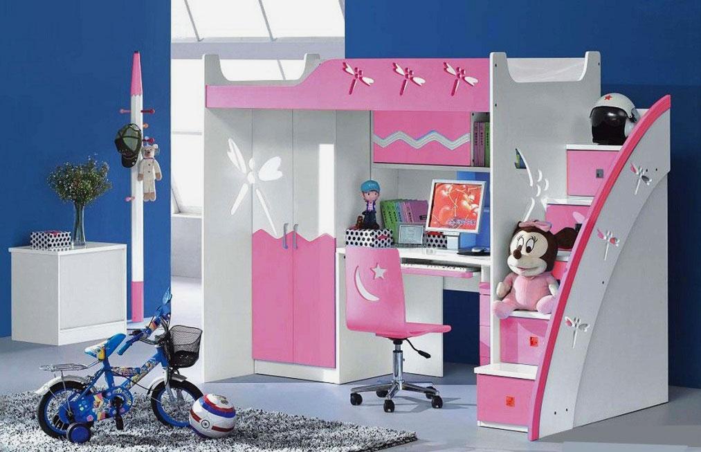 Кровать-чердак для девочки с рабочей зоной и шкафом