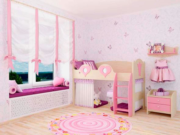 Фото детской комнаты девочки с кроватью-чердаком в интерьере