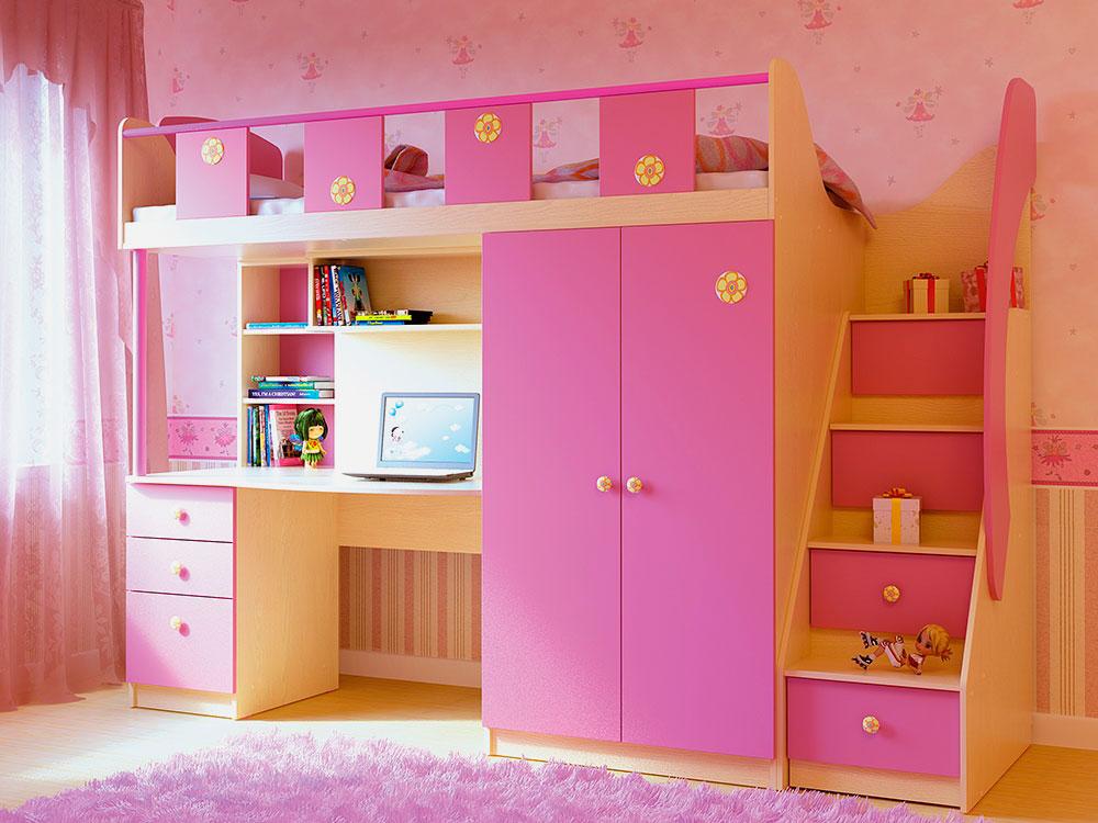 Кровать-чердак со шкафом в интерьере комнаты