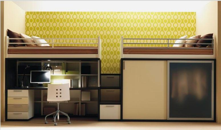 Двухместная кровать-чердак в интерьере со шкафом и рабочей зоной