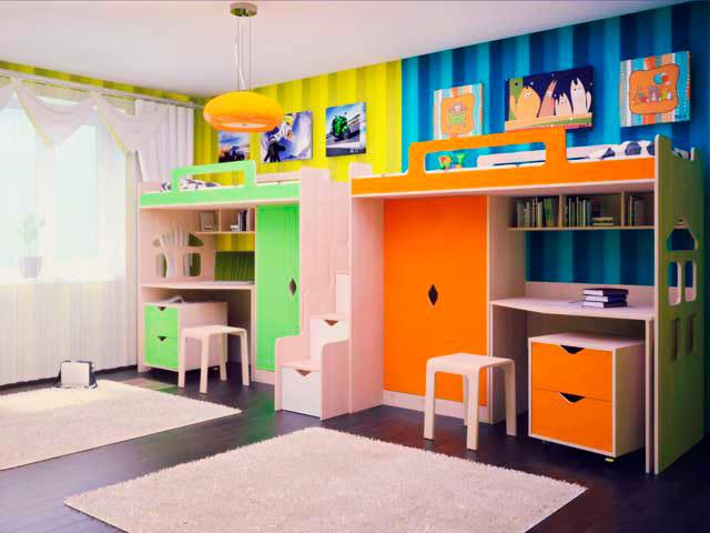 Фото детской комнаты с кроватью-чердаком для двоих