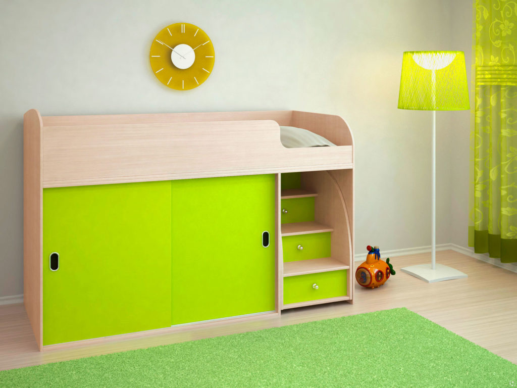 Низкая кровать-чердак со шкафом купе