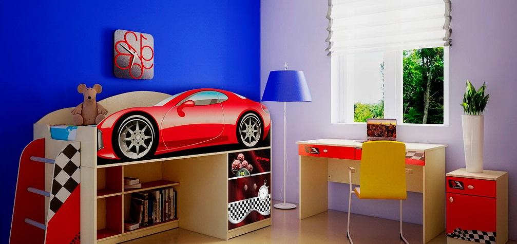 Низкая кровать-чердак для мальчика в виде автомобиля