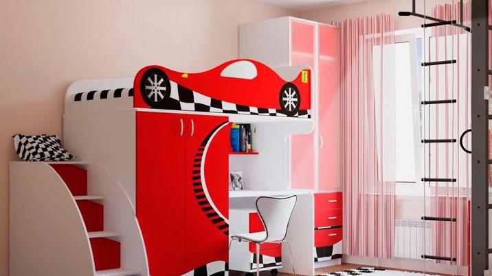 Кровать-чердак в виде машины со шкафом внизу и рабочей зоной