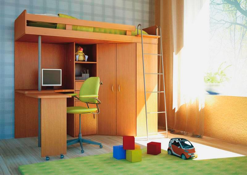 Кровать-чердак для мальчиков с рабочей зоной и угловым распашным шкафом
