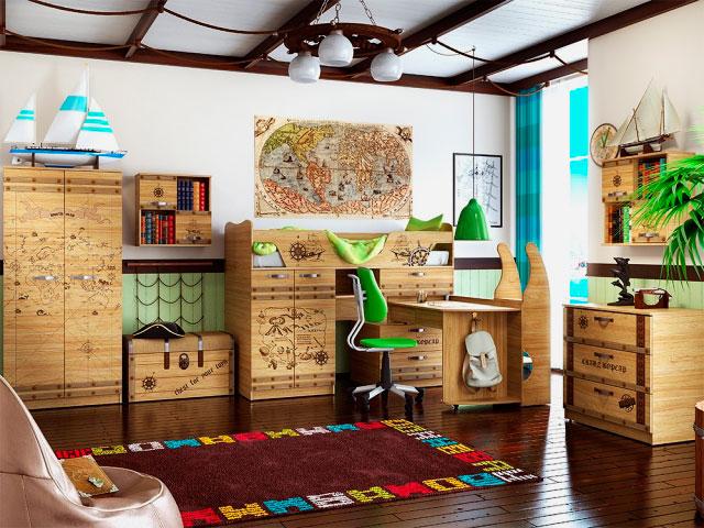 Низкая кровать-чердак с выдвижным столом стилизованная под морской исследовательский стиль