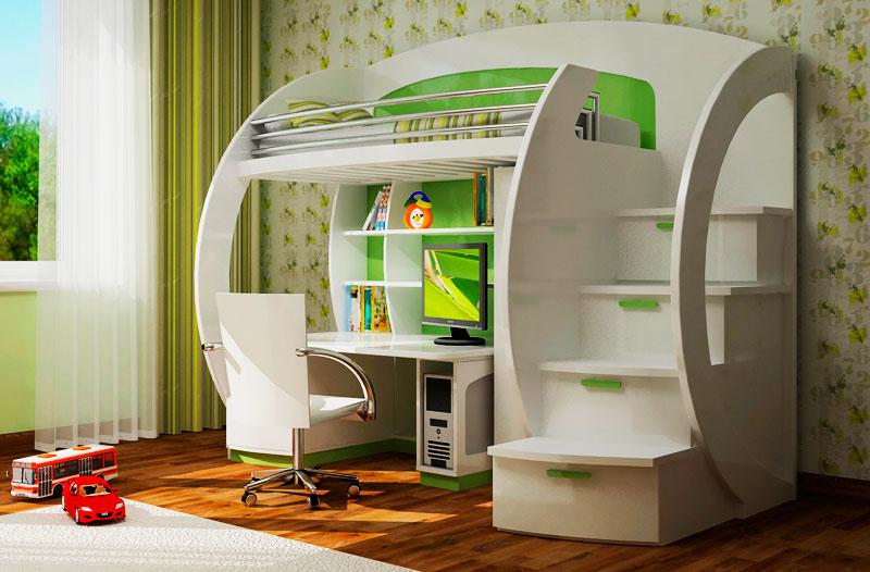 Фото детской комнаты с кровать-чердаком оснащенной столом