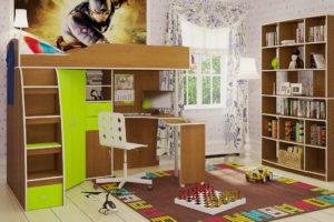 Деревянная кровать-чердак для мальчика с рабочей зоной в интерьере комнаты