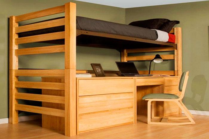 Односпальная кровать-чердак для взрослых с рабочей зоной
