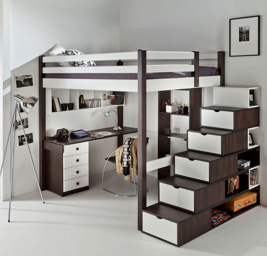 Кровать-чердак для взрослых с рабочей зоной внизу