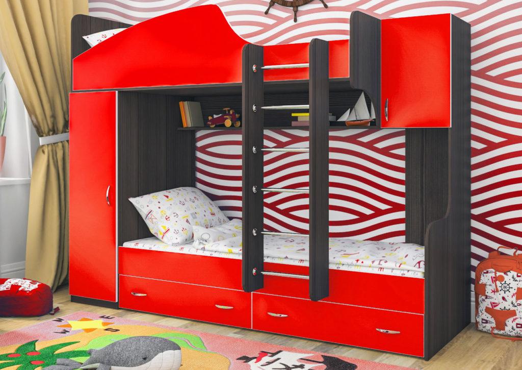 Детская кровать-чердак с навесной лестницей и системой хранения для вещей