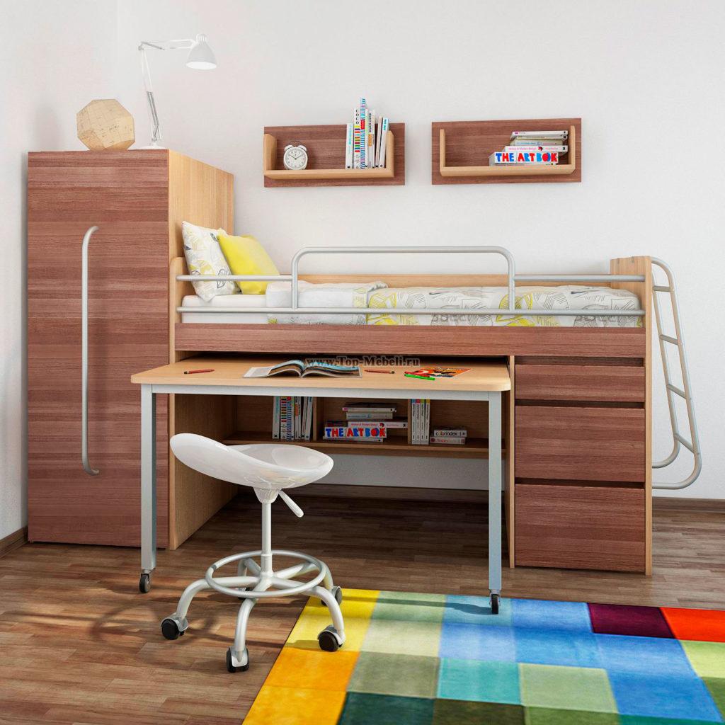 Низкая кровать-чердак с боковым выдвижным шкафом для одежды