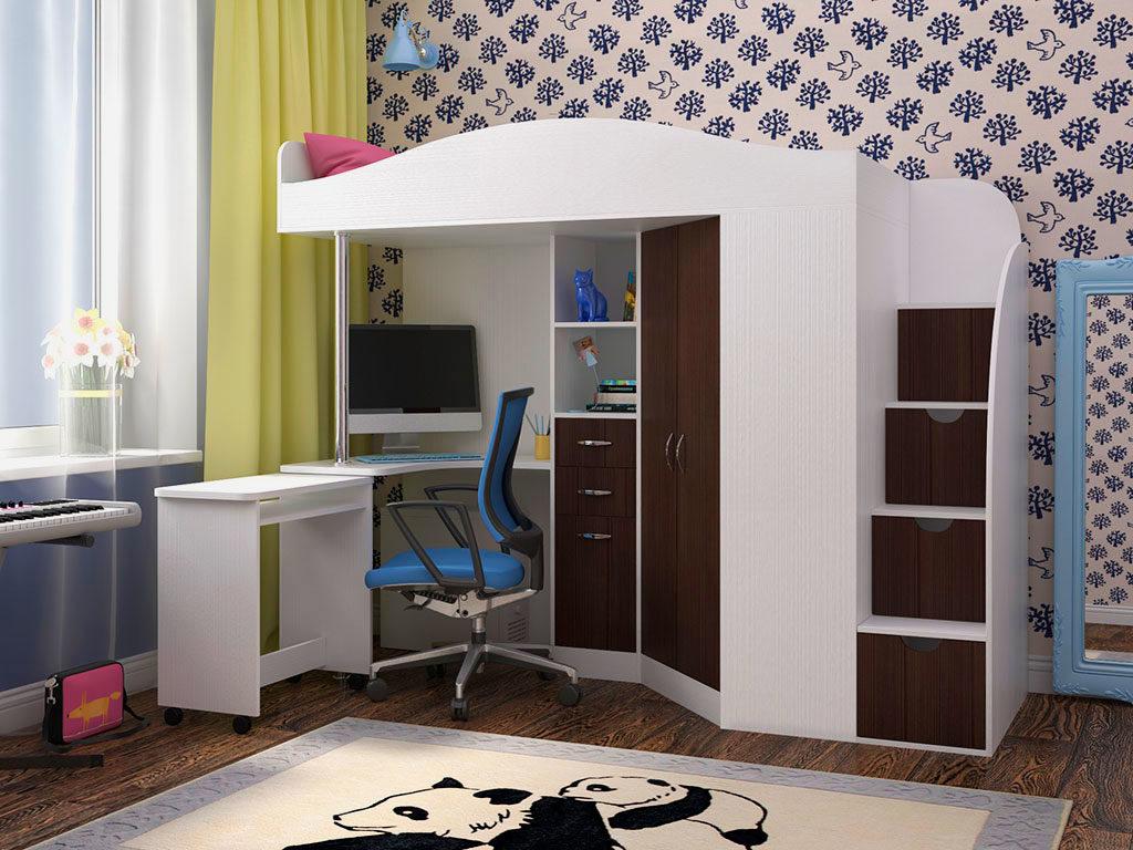 Кровать-чердак с угловым шкафом и рабочей зоной с приставным столом на колесиках