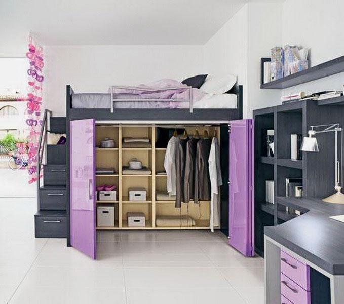 Фото наполнения шкафа по кроватью-чердаком