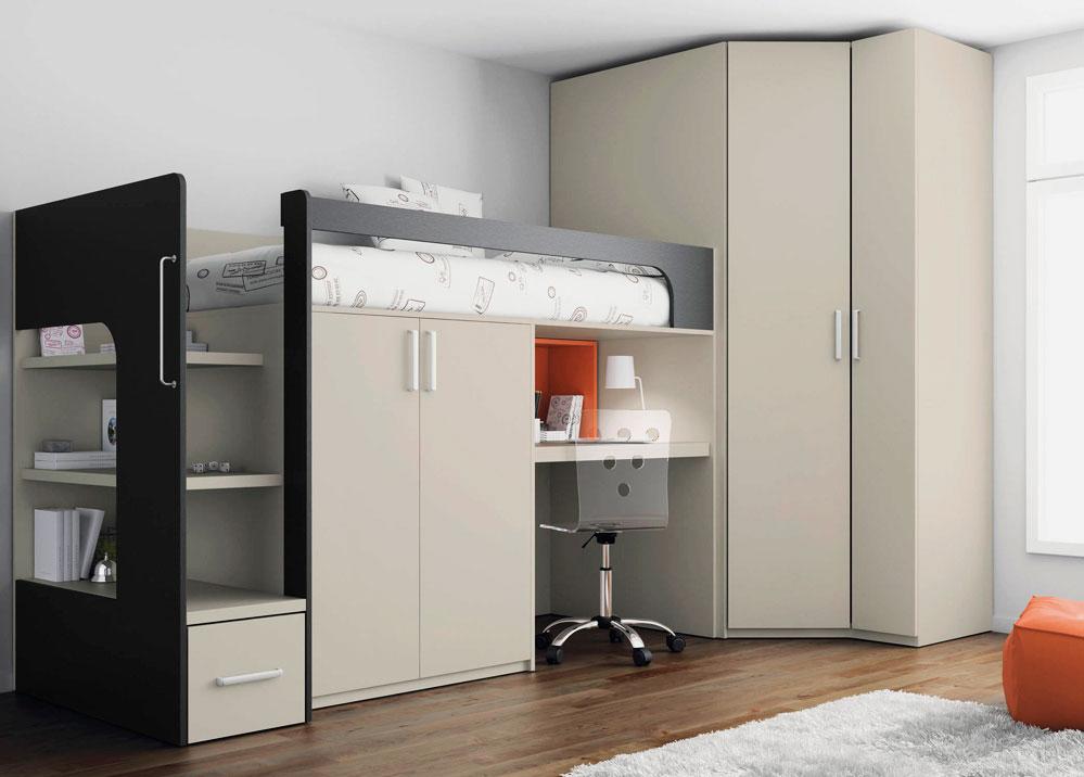 Кровать-чердак со встроенным столом внизу и шкафом