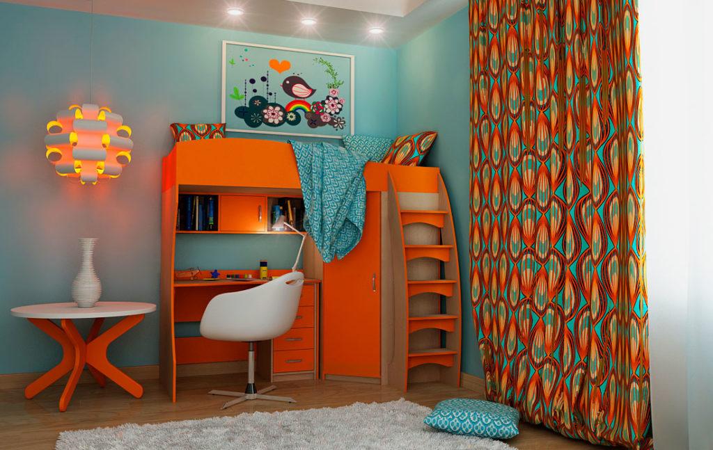 Кровать-чердак в интерьере детской комнаты оснащенная столом и угловым шкафом с распашными дверьми