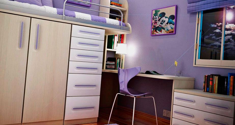 Кровать-чердак оснащенная двустворчатым шкафом с распашными дверьми и выдвижными ящиками