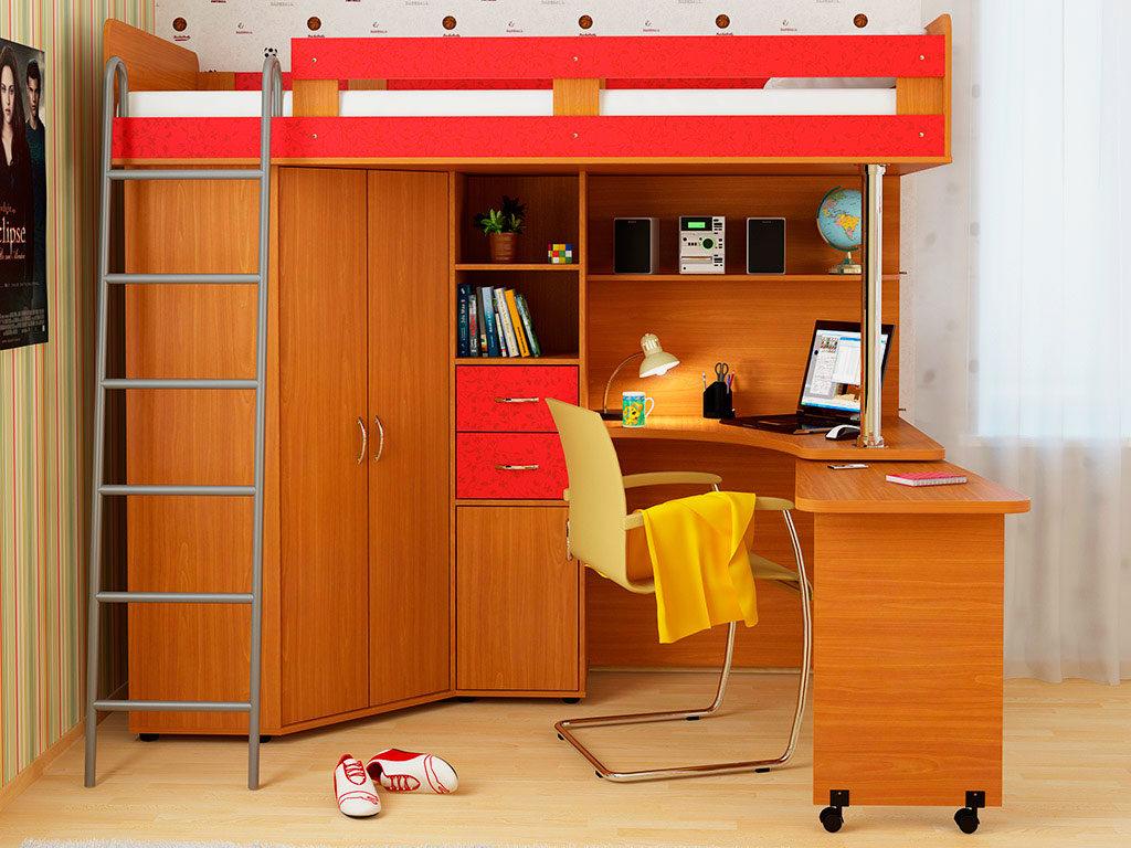 Кровать-чердак с рабочей зоной, угловым шкафом и металлической лестницей
