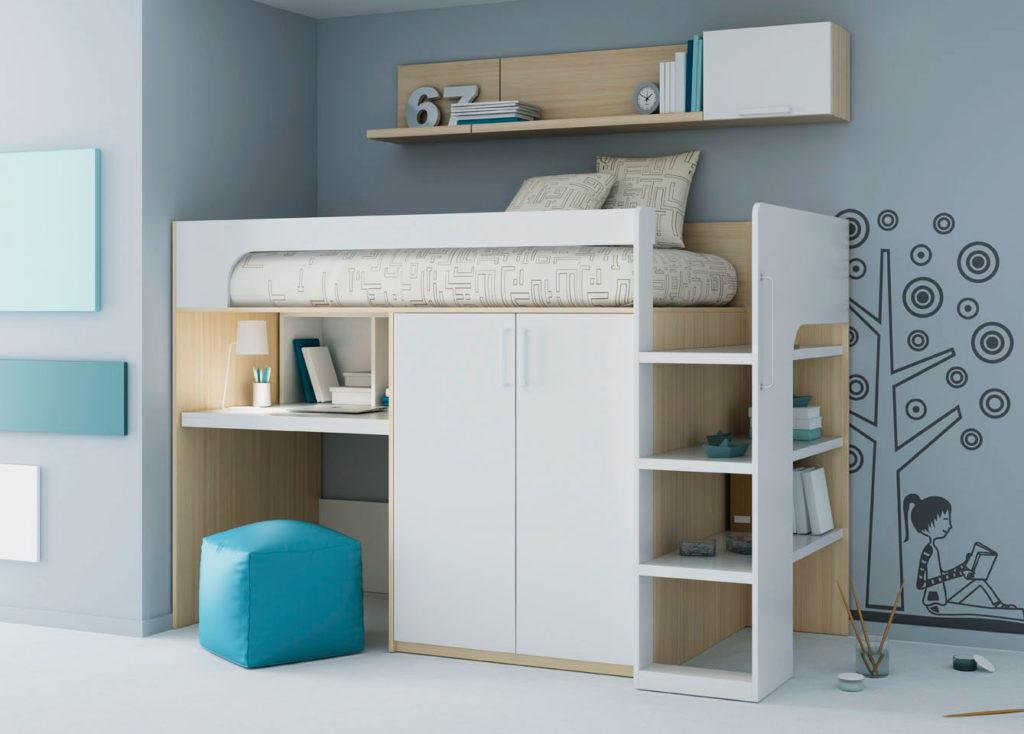 Низкая кровать-чердак со шкафом и столом внизу