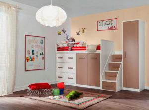 Кровать-чердак со шкафами и выдвижными ящиками