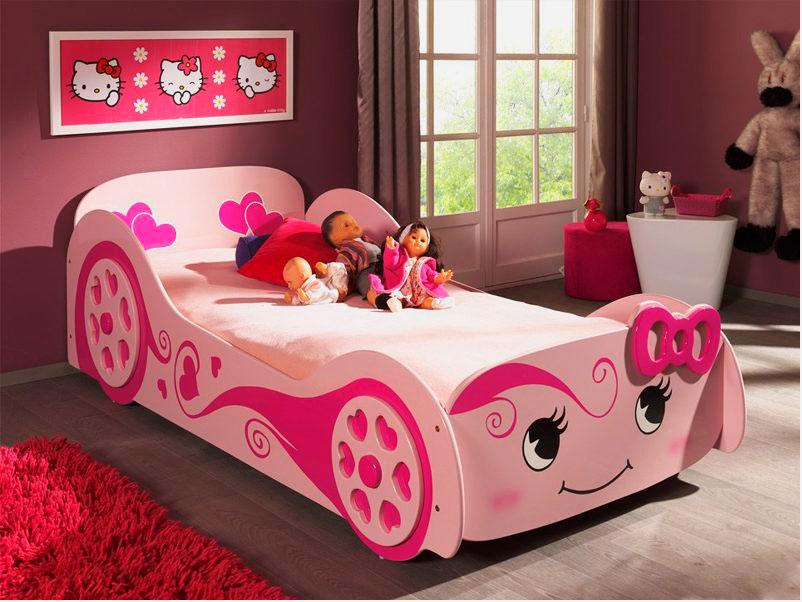 Розовая кровать машина для девочки