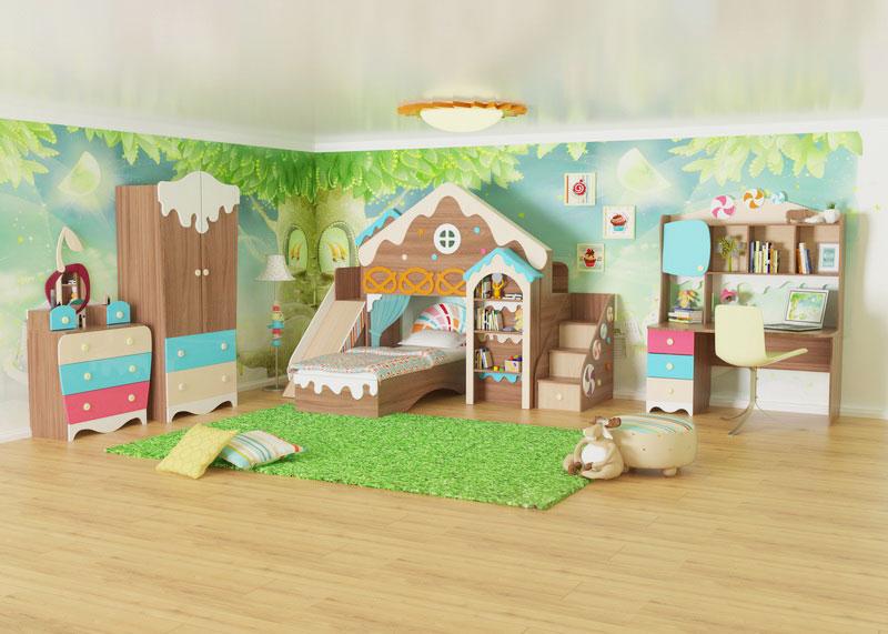 Интерьер детской комнаты девочки с красивой кроватью декорированной домиком