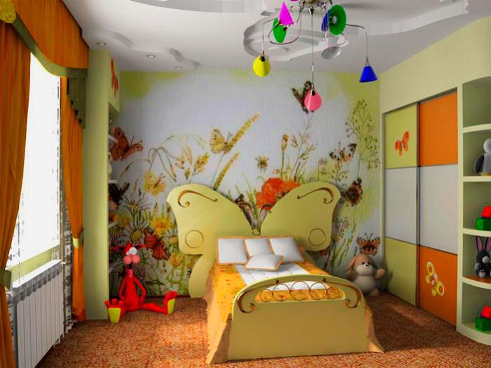 Интерьер детской комнаты девочки с кроватью оснащенной изголовьем в виде бабочки